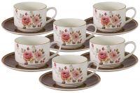 Набор 12 предметов Английская роза: 6 чашек и 6 блюдец AL-M2188/12-E9
