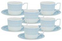 Чайный набор Блюз: 6 чашек + 6 блюдец NG-I190302L-T6
