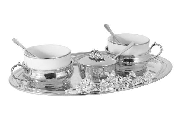 Чайный набор на 2 персоны: поднос, 2 чашки, 2 ложки, сахарница с ложкой GA-VEN2007-N