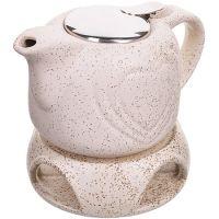 Заварочный чайник БЕЖЕВЫЙ 700 мл подставка-подогрев LORAINE 28687-3