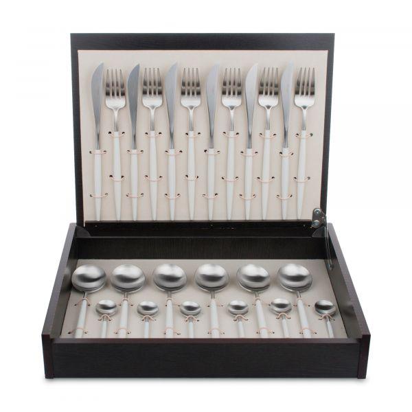 Набор столовых приборов 24 предмета с белыми ручками CUTIPOL GOA White Brushed матовый GO.006 W