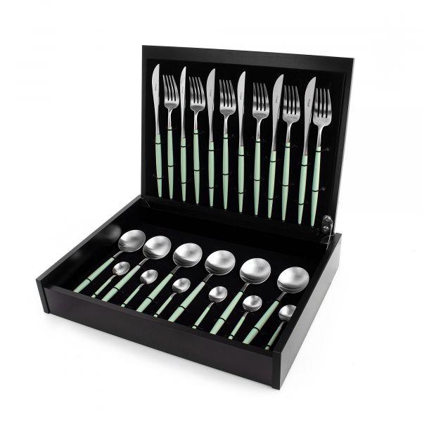 Набор столовых приборов 24 предмета с ручками цвета мяты CUTIPOL GOA matte celadon GO.006 CE