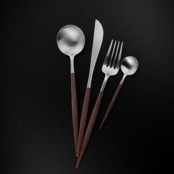 Набор столовых приборов 24 предмета с коричневыми ручками CUTIPOL GOA matte brown GO.006 B