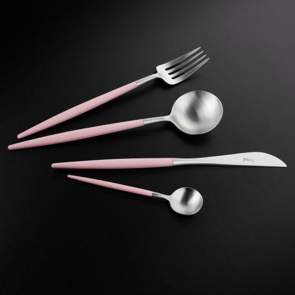 Набор столовых приборов 24 предмета с розовыми ручками CUTIPOL GOA matte pink GO.006 PK