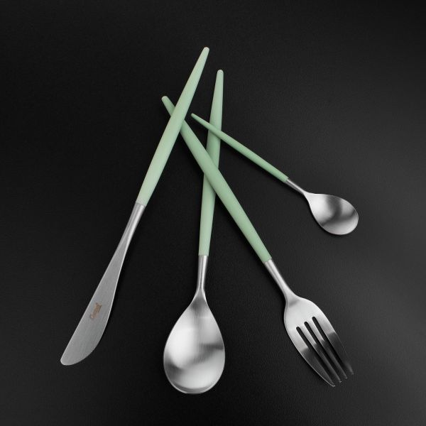Набор столовых приборов 24 предмета с ручками цвета мяты CUTIPOL MIO matte celadon MI.006 CE