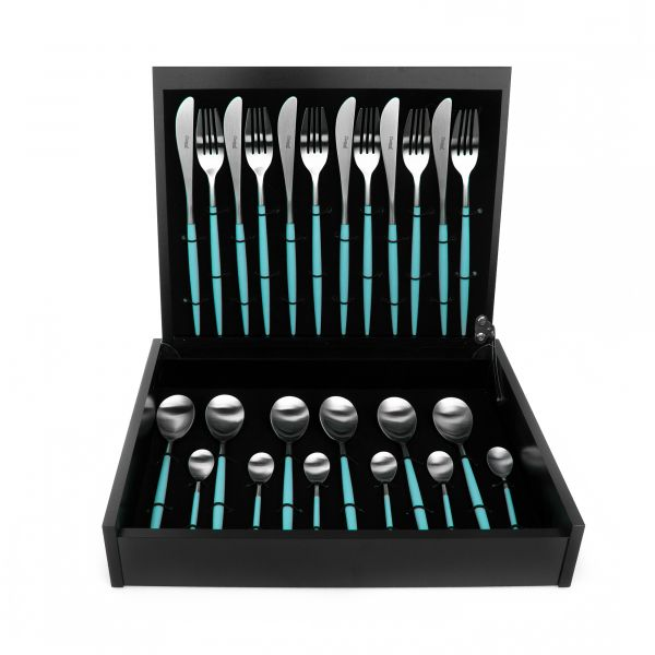 Набор столовых приборов 24 предмета с бирюзовыми ручками CUTIPOL MIO matte turquiose MI.006 T