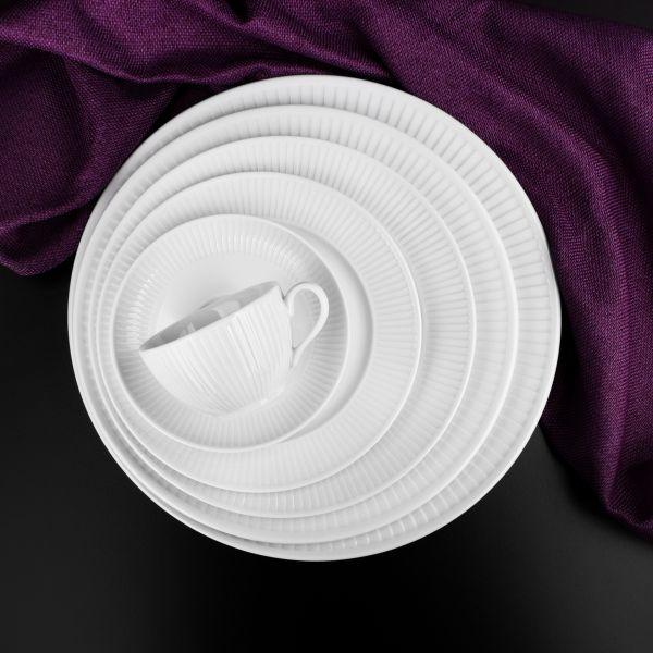 Тарелка обеденная 28 см белый фарфор, PILLIVUYT Plisse, 214228BL1
