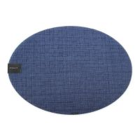 Салфетка подстановочная овальная CHILEWICH Bay Weave Blue Jean, винил, 36х48 см 100644-002