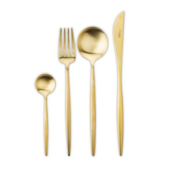 Набор столовых приборов 24 предмета с матовой позолотой CUTIPOL MOON Gold Brushed MO.006 GB
