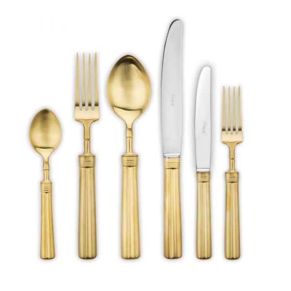 Набор столовых приборов 72 предмета с матовой позолотой CUTIPOL FONTAINEBLEAU Gold Brushed P1A.72 GB