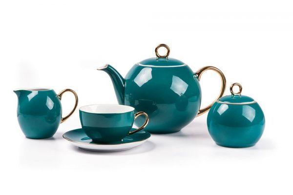 Чайный сервиз Tunisie Porcelaine Monalisa 15 предметов цвет бирюзовый 559511 3123