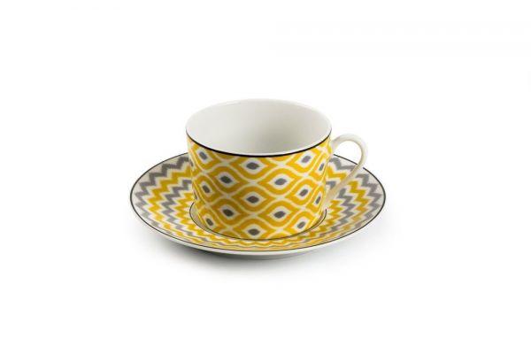 Чашка чайная Tunisie Porcelaine Огненный Павлин 220 мл с блюдцем 5303522 2372