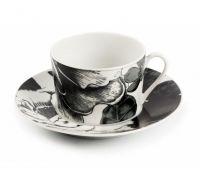 Чашка чайная Tunisie Porcelaine Черный Базилик 220 мл с блюдцем 5303522 2371