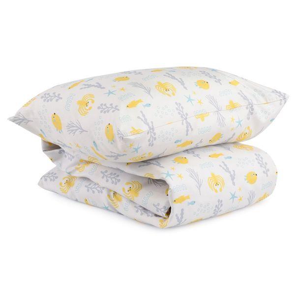 Комплект постельного белья из сатина с принтом oceania world из коллекции tiny world, 110х140 см TK20-KIDS-DC0011