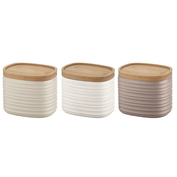 Набор из 3 емкостей для хранения с бамбуковыми крышками tierra 500 мл разноцветный 18180252