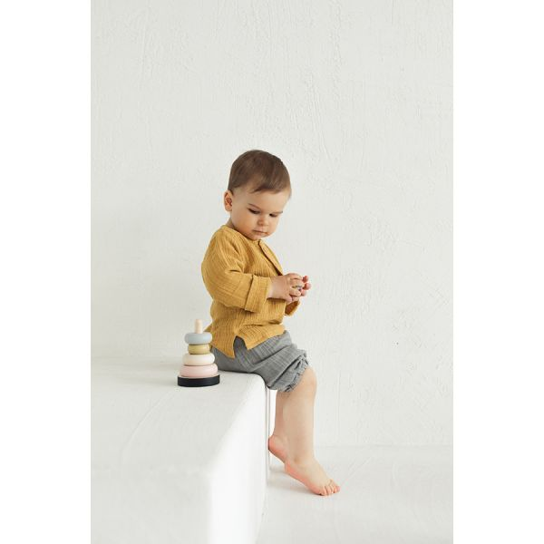 Шорты из хлопкового муслина серого цвета из коллекции essential 12-18m TK20-KIDS-SHO0006