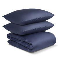 Комплект постельного белья полутораспальный из сатина темно-синего цвета из коллекции essential TK19-DC0009
