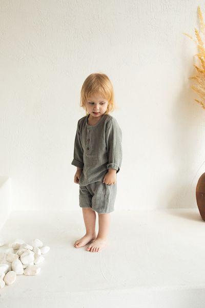 Шорты из хлопкового муслина серого цвета из коллекции essential 3-4y TK20-KIDS-SHO0009
