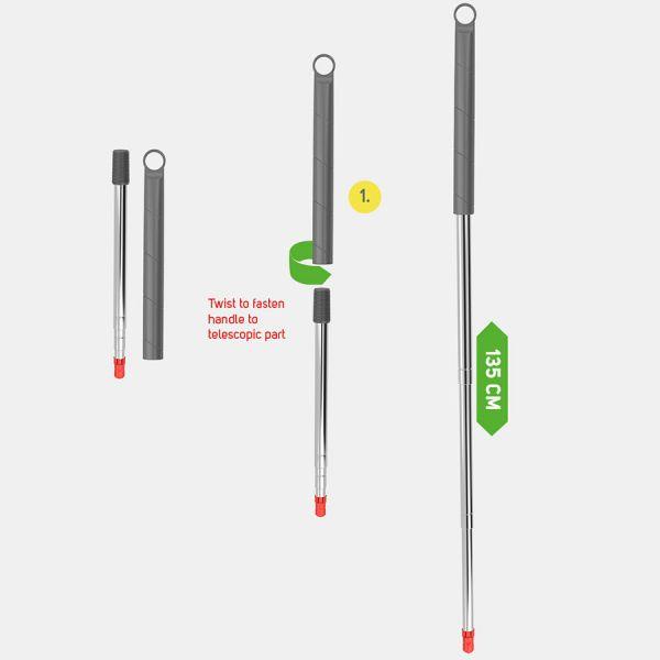 Ручка для швабры телескопическая 135 см 15367