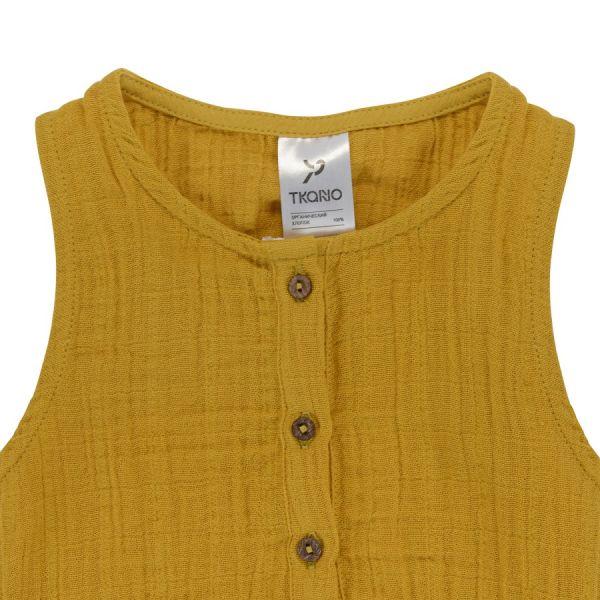 Боди из хлопкового муслина горчичного цвета из коллекции essential 9-12m TK20-KIDS-BOD0003