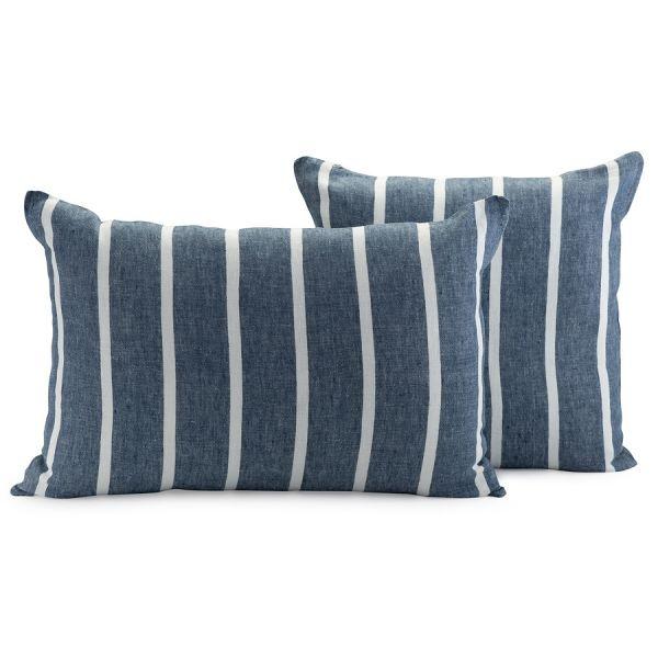 Чехол на подушку декоративный в полоску темно-синего цвета из коллекции essential, 45х45 см TK21-CC0002