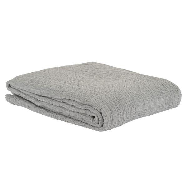 Покрывало из жатого хлопка серого цвета  из коллекции essential, 230х250 см TK20-BS0006