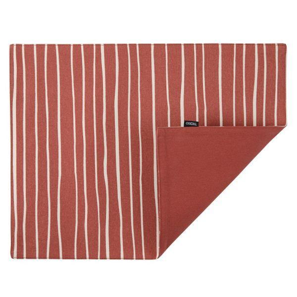 Салфетка двухсторонняя под приборы из хлопка терракотового цвета с принтом Полоски из коллекции prairie TK20-PM0002