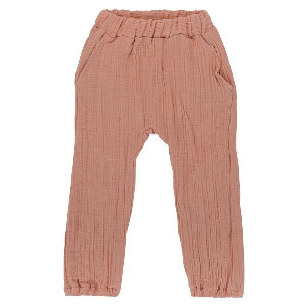 Штаны из хлопкового муслина цвета пыльной розы из коллекции essential 5-6y TK20-KIDS-PNT0018