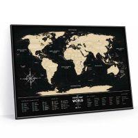 Cкретч-карта мира Travel Map Black World в металлической раме BWF