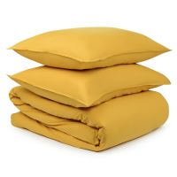 Комплект постельного белья горчичного цвета из органического стираного хлопка из коллекции essential