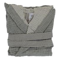 Халат из жатого хлопка серого цвета из коллекции essential 24-36m TK20-KIDS-BHR0006
