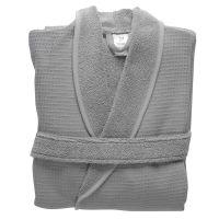 Халат банный из чесаного хлопка серого цвета из коллекции essential, размер l TK20-BR0005