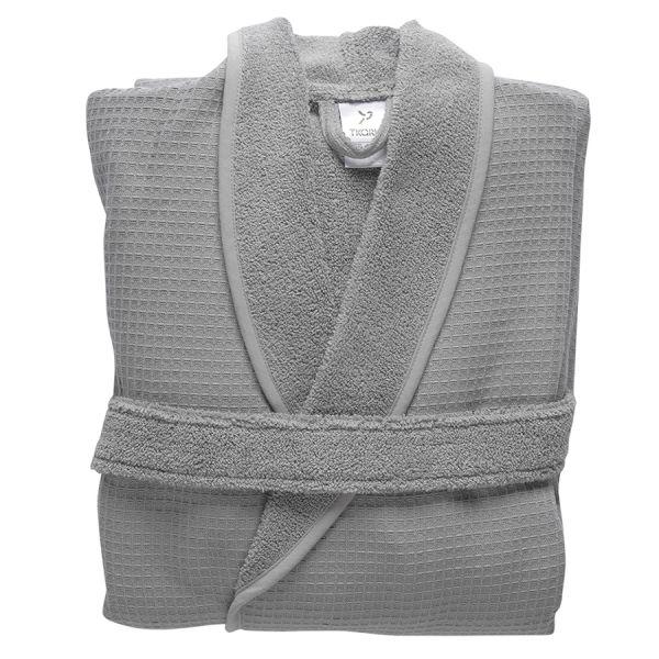 Халат банный из чесаного хлопка серого цвета из коллекции essential, размер l
