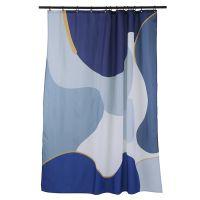 Штора для ванной синего цвета с авторским принтом из коллекции freak fruit TK20-SC0003