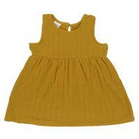 Платье без рукава из хлопкового муслина горчичного цвета из коллекции essential 4-5y TK20-KIDS-DRS0005