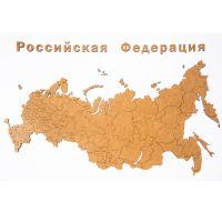 Карта-пазл Wall Decoration 'Российская Федерация' с городами, 98х53 см коричневая 19-26