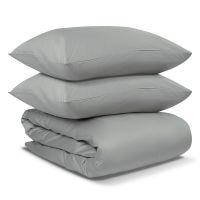 Комплект постельного белья из сатина светло-серого цвета из коллекции essential TK19-DC0008