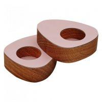 Подсвечник для чайных свечей LINDDNA NUPO розовый 8x10x2,5 см 2 шт фигурный 9842