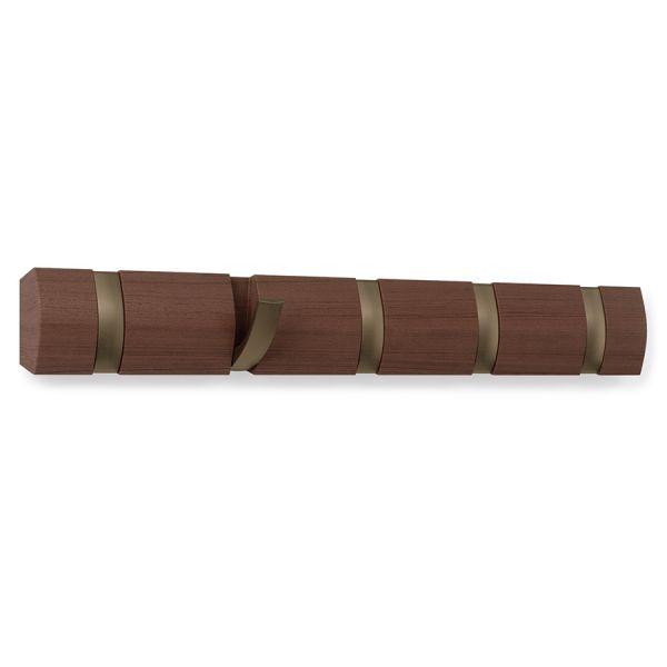 Вешалка настенная горизонтальная flip 5 крючков коричневая 318850-1227