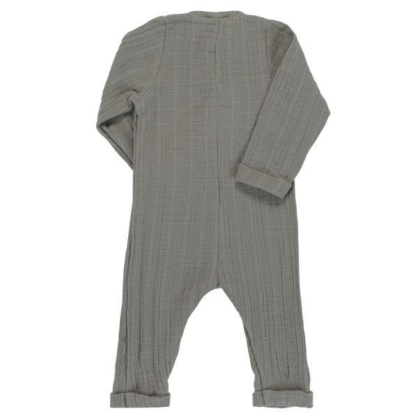 Комбинезон с длинным рукавом из хлопкового муслина серого цвета из коллекции essential 9-12М TK20-KIDS-JSL0003