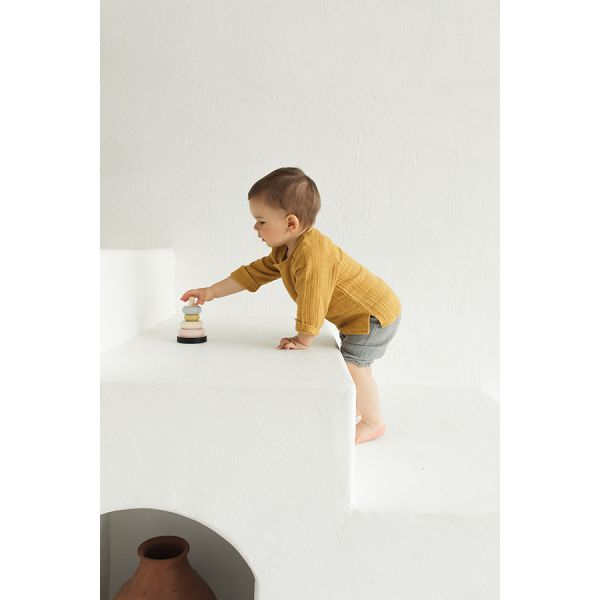 Рубашка из хлопкового муслина горчичного цвета из коллекции essential 3-4y TK20-KIDS-SHI0004