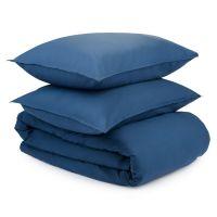 Комплект постельного белья темно-синего цвета из органического стираного хлопка из коллекции essenti