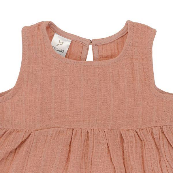 Платье без рукава из хлопкового муслина цвета пыльной розы из коллекции essential 24-36m TK20-KIDS-DRS0008
