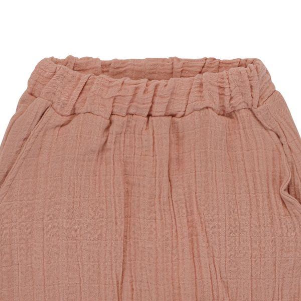 Штаны из хлопкового муслина цвета пыльной розы из коллекции essential 24-36m TK20-KIDS-PNT0015