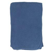 Плед из хлопка жемчужной вязки пыльно-голубого цвета из коллекции essential, 130х180 см TK20-TH0004