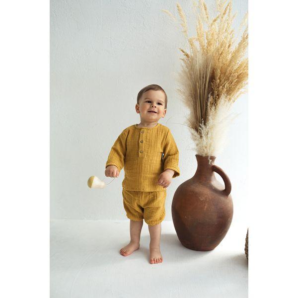 Шорты из хлопкового муслина горчичного цвета из коллекции essential 12-18m TK20-KIDS-SHO0001