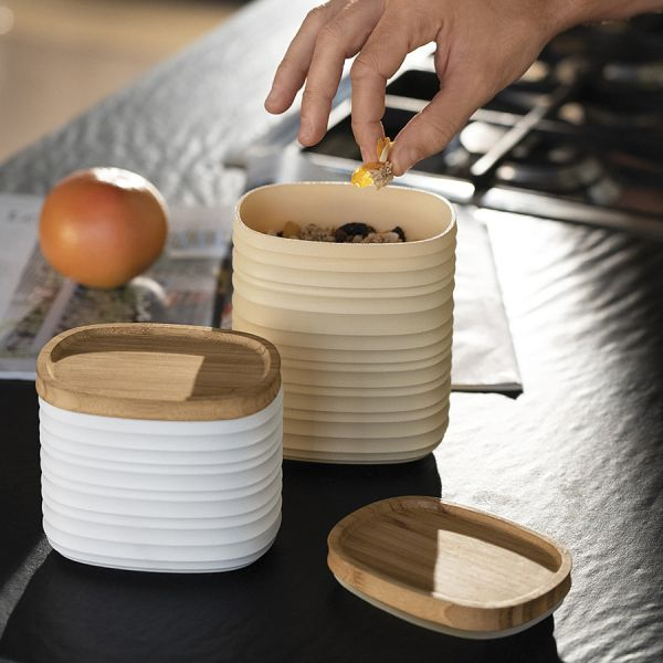Емкость для хранения с бамбуковой крышкой tierra 1 л бежево-розовая 181800158