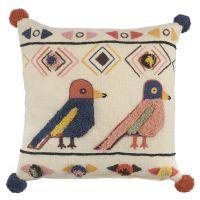 Чехол на подушку в этническом стиле с помпонами и вышивкой Птицы из коллекции ethnic, 45х45 см TK20-CC0001