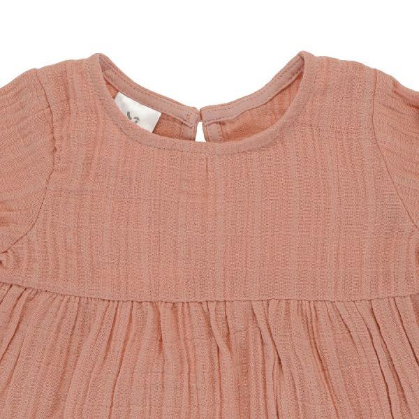 Платье с длинным рукавом из хлопкового муслина цвета пыльной розы из коллекции essential 24-36m TK20-KIDS-DRL0008