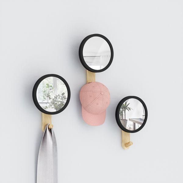 Зеркало-вешалка Hub черное/дерево Umbra 318410-045